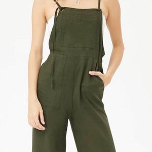 FOREVER 21 OVERALLS LINEN BLEND SELF TIE  SIZE S